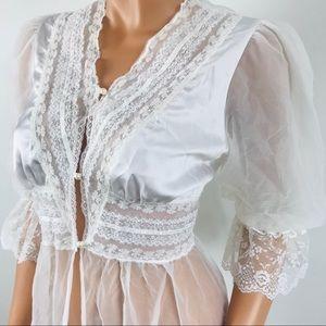 Vintage white long sleeve sheer lingerie Nightgown